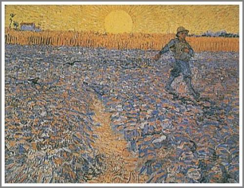 【送料無料】複製名画油絵 ゴッホ作「種を蒔く人」額付き 絵画サイズ: 30x40 cm