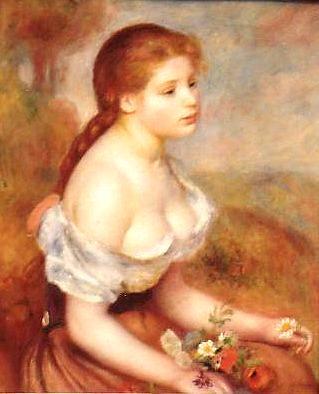 【送料無料】複製名画油絵 ルノワール作「花を持つ少女」額付き 絵画サイズ: 30x40 cm