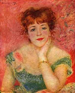 【送料無料】オリジナルサイズ複製名画油絵 ルノワール作「ジャンヌ・サマリーの胸像」額付き 絵画サイズ: 56x47 cm