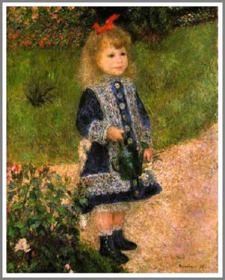 【送料無料】複製名画油絵 ルノワール作「じょうろを持つ少女」額付き 絵画サイズ: 30x40 cm