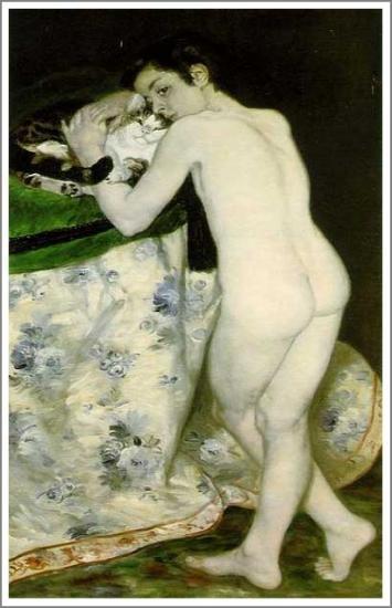 【送料無料】複製名画油絵 ルノワール作「猫と少年」額付き 絵画サイズ: 30x40 cm