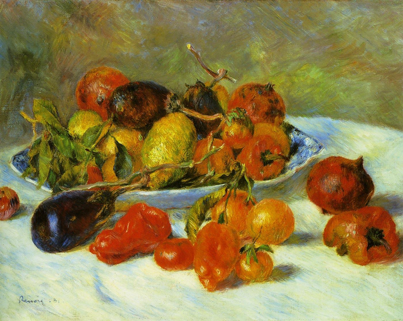 【送料無料】複製名画油絵 ルノワール作「南仏の果実」額付き 絵画サイズ: 30x40 cm