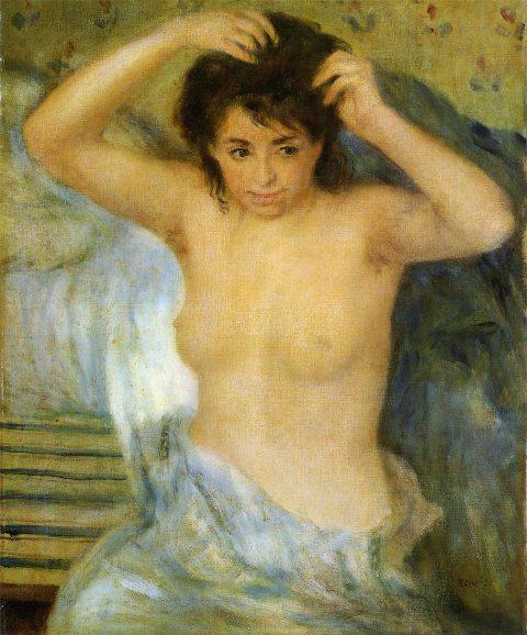 【送料無料】複製名画油絵 ルノワール作「女性の半身像(入浴前)」額付き 絵画サイズ: 30x40 cm