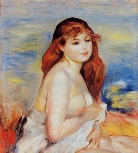 【送料無料】複製名画油絵 ルノワール作「ブロンドの浴女」額付き 絵画サイズ: 30x40 cm