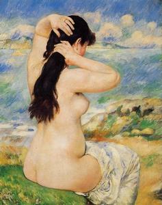 【送料無料】複製名画油絵 ルノワール作「髪の手入れをする浴女」額付き 絵画サイズ: 30x40 cm
