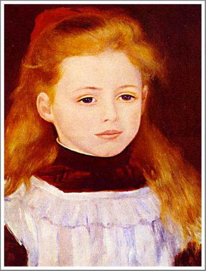 【送料無料】複製名画油絵 ルノワール作「白いエプロンの少女」額付き 絵画サイズ: 30x40 cm