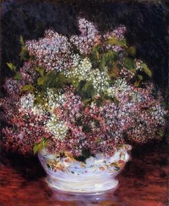 【送料無料】複製名画油絵 ルノワール作「白い花瓶の花」額付き 絵画サイズ: 40x50 cm