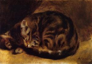 【送料無料】複製名画油絵 ルノワール作「猫」額付き 絵画サイズ: 40x50 cm