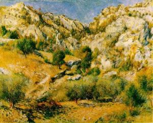 【送料無料】複製名画油絵 ルノワール作「レスタックの岩山」額付き 絵画サイズ: 30x40 cm