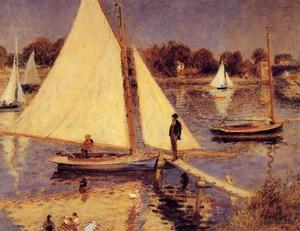 【送料無料】複製名画油絵 ルノワール作「アルジャントゥイユのセーヌ川」額付き 絵画サイズ: 30x40 cm