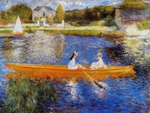 【送料無料】複製名画油絵 ルノワール作「アニエール セーヌの岸辺」額付き 絵画サイズ: 30x40 cm