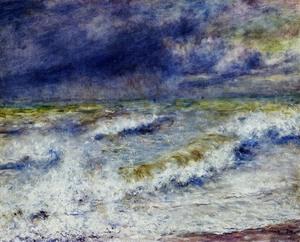 【送料無料】複製名画油絵 ルノワール作「波」額付き 絵画サイズ: 30x40 cm