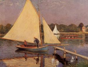 【送料無料】複製名画油絵 モネ作「アルジャントゥィユのボート漕ぎ」 額付き 絵画サイズ: 30x40 cm