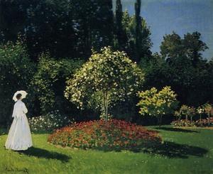 【送料無料】複製名画油絵 モネ作「サンタドレスの庭のジャンヌ」 額付き 絵画サイズ: 30x40 cm