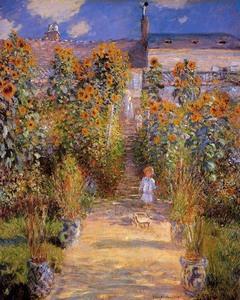 【送料無料】複製名画油絵 モネ作「ヴュトゥイユのモネの庭」 額付き 絵画サイズ: 30x40 cm