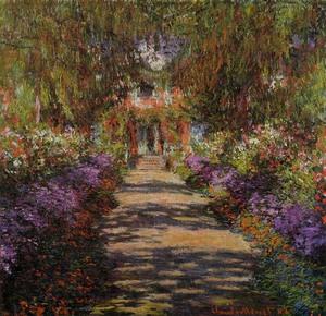 【送料無料】複製名画油絵 モネ作「ジヴェルニーのモネの庭の小道」 額付き 絵画サイズ: 30x40 cm