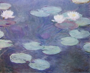 【送料無料】複製名画油絵 モネ作「睡蓮4 ピンクの睡蓮 」 額付き 絵画サイズ: 30x40 cm