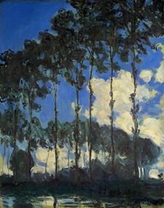 【送料無料】複製名画油絵 モネ作「エプト湖畔のポプラ並木」 額付き 絵画サイズ: 30x40 cm