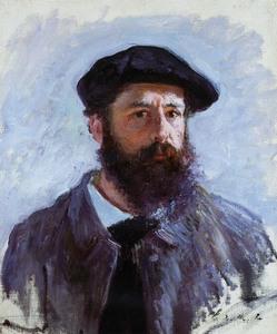 【送料無料】複製名画油絵 モネ作「自画像 ベレー帽のモネ」 額付き 絵画サイズ: 50x60 cm
