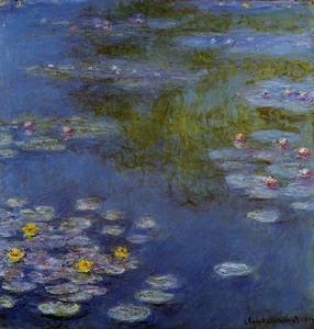 【送料無料】複製名画油絵 モネ作「睡蓮2 青とピンク」 額付き 絵画サイズ: 30x40 cm