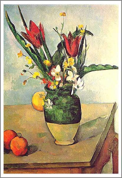 【送料無料】複製名画油絵 セザンヌ作「チューリップと果物」額付き 絵画サイズ: 30x40 cm