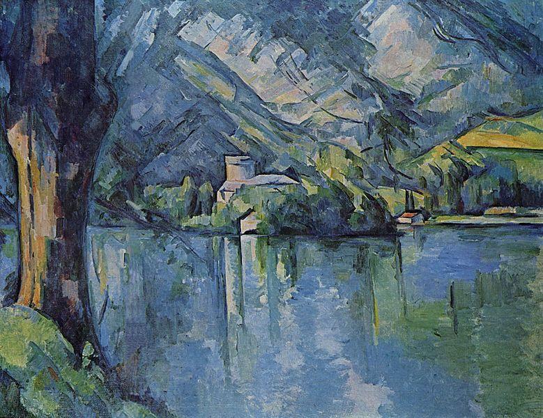 【送料無料】複製名画油絵 セザンヌ作「アヌシー湖」額付き 絵画サイズ: 30x40 cm