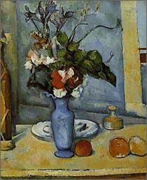 【送料無料】複製名画油絵 セザンヌ作「青い花瓶の花」額付き 絵画サイズ: 30x40 cm