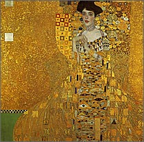 【送料無料】複製名画油絵 クリムト作「アデーレの肖像」額付き 絵画サイズ: 60x60 cm