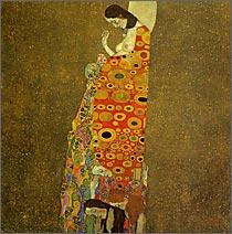 【送料無料】複製名画油絵 クリムト作「希望」額付き 絵画サイズ: 60x60 cm