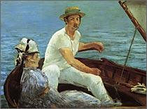 【送料無料】複製名画油絵 マネ作「船遊び」額付き 絵画サイズ: 50x60 cm