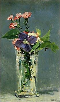 【送料無料】複製名画油絵 マネ作「ガラス花瓶の中のカーネーション」額付き 絵画サイズ: 50x60 cm