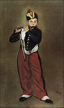 【送料無料】複製名画油絵 マネ作「笛を吹く少年」額付き 絵画サイズ: 50x80 cm