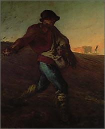 【送料無料】複製名画油絵 ミレー作「種をまく人」額付き 絵画サイズ: 50x60 cm