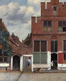 【送料無料】複製名画油絵 フェルメール作「小路」額付き 絵画サイズ: 50x60 cm