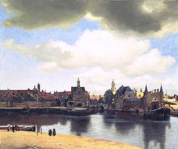 【送料無料】複製名画油絵 フェルメール作「デルフトの展望」額付き 絵画サイズ: 50x60 cm