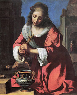 【送料無料】複製名画油絵 フェルメール作「聖プラクセディス」額付き 絵画サイズ: 50x60 cm