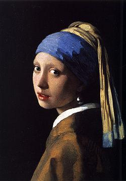 05P13sep13【送料無料】複製名画油絵 フェルメール作「真珠の耳飾りの少女」 額無し 絵画サイズ: 30x40 cm