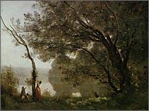 【送料無料】複製名画油絵 コロー作「モルトフォンテーヌの想い出」額付き 絵画サイズ: 50x60 cm