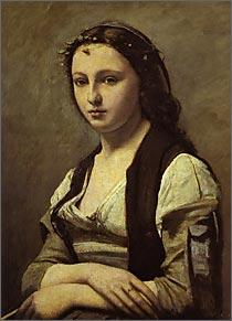 【送料無料】複製名画油絵 コロー作「真珠の女」額付き 絵画サイズ: 50x60 cm
