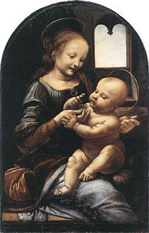 【送料無料】複製名画油絵 ダ・ヴィンチ作「ブノワの聖母」額付き 絵画サイズ: 50x60 cm