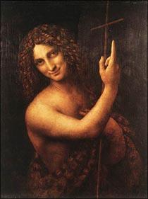 【送料無料】複製名画油絵 ダ・ヴィンチ作「洗礼者聖ヨハネ」額付き 絵画サイズ: 50x60 cm