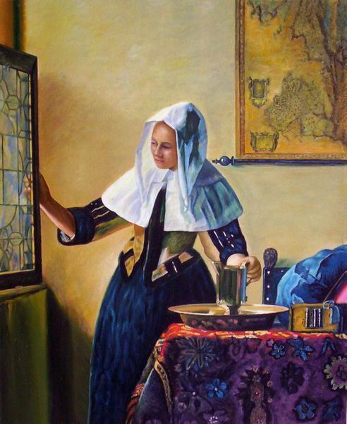 【送料無料】複製名画油絵 フェルメール作「窓辺で水差しを持つ女」額付き絵画サイズ: 50 x 60 cm