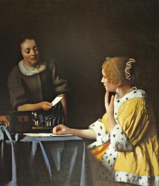 【送料無料】複製名画油絵 フェルメール作「手紙を書く女と召使」額付き絵画サイズ: 50x 60 cm