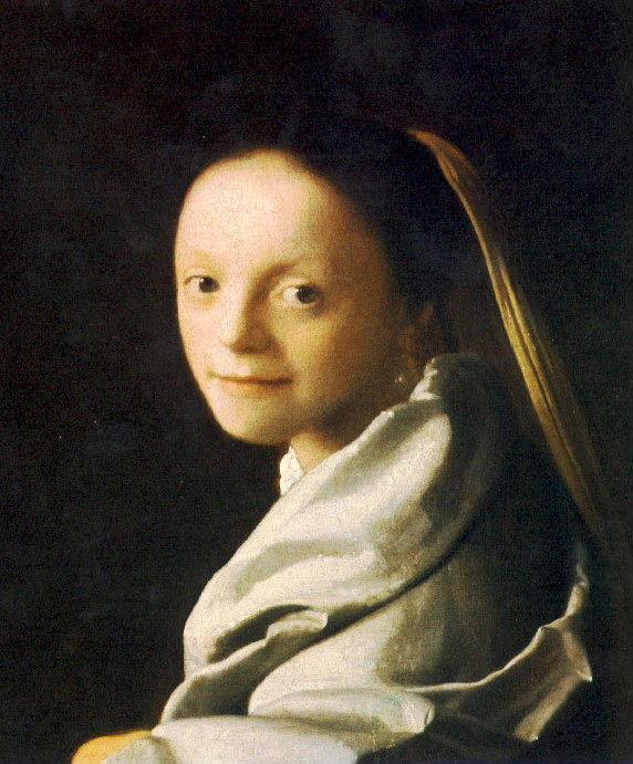 【送料無料】複製名画油絵 フェルメール作「少女の肖像」額付き絵画サイズ: 50 x 60 cm