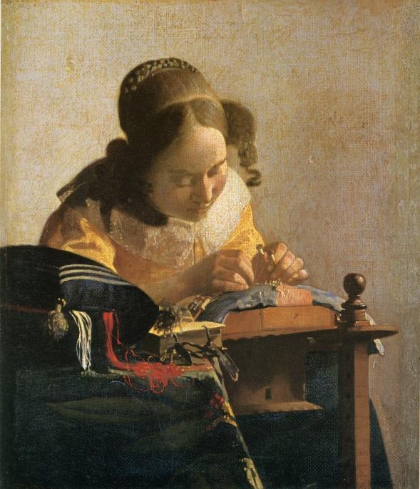 【送料無料】複製名画油絵 フェルメール作「レースを編む女」額付き絵画サイズ: 50 x 60 cm