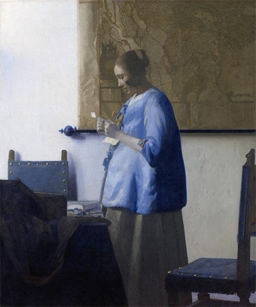 【送料無料】複製名画油絵 フェルメール作「手紙を読む青衣の女」額付き絵画サイズ: 50 x 60 cm