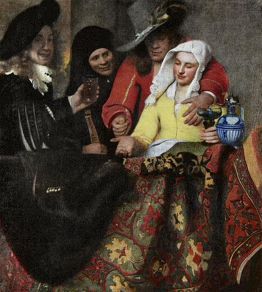 【送料無料】複製名画油絵 フェルメール作「取り持ち女」額付き絵画サイズ: 50 x 60 cm