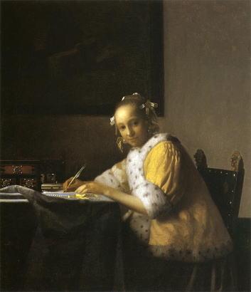 【送料無料】複製名画油絵 フェルメール作「手紙を書く女」額付き絵画サイズ: 50 x 60 cm