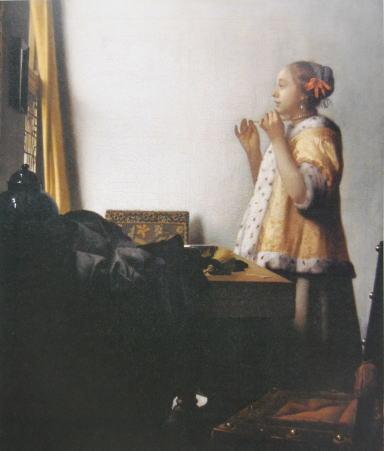 【送料無料】複製名画油絵 フェルメール作「真珠の首飾りの女」額付き絵画サイズ: 50 x 60 cm