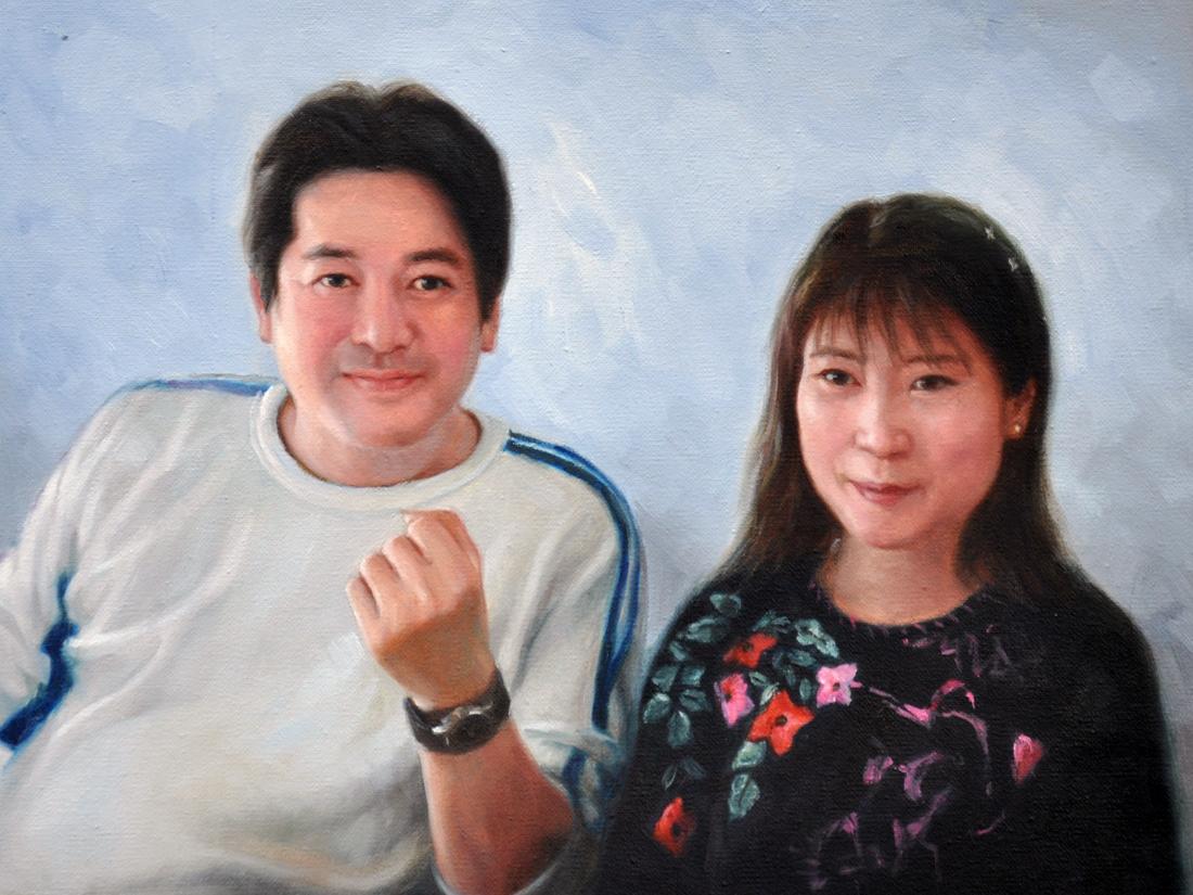 【額装無し】技法が選べるオーダー油絵 人物二人 額装無し 絵画サイズ: 50 x 75cm【絵画:油彩画】